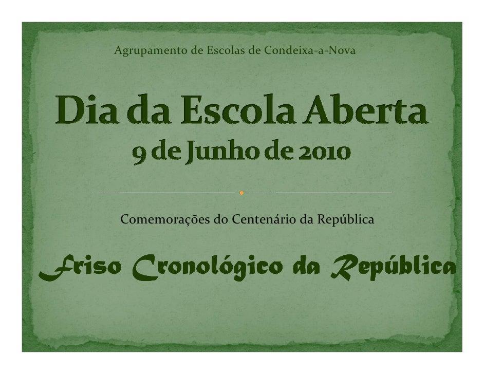 Agrupamento de Escolas de Condeixa-a-Nova          Comemorações do Centenário da República   Friso Cronológico da Repúblic...