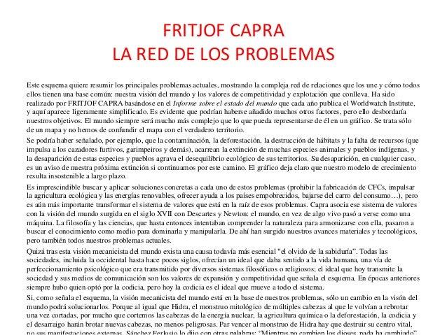 FRITJOF CAPRA LA RED DE LOS PROBLEMAS Este esquema quiere resumir los principales problemas actuales, mostrando la complej...