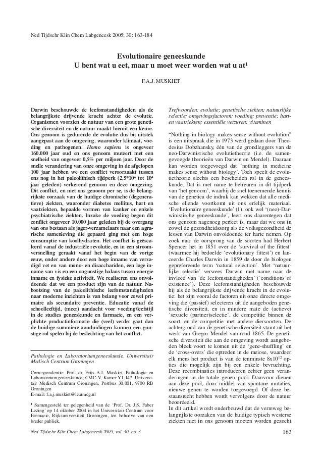 Ned Tijdschr Klin Chem Labgeneesk 2005; 30: 163-184                                 Evolutionaire geneeskunde             ...