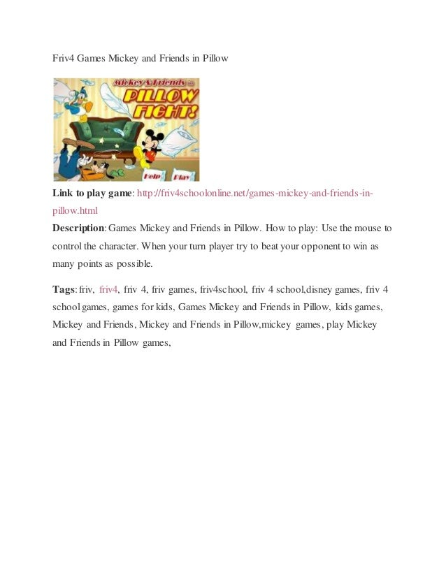 Friv4 Games Mickey And Friends In Pillow