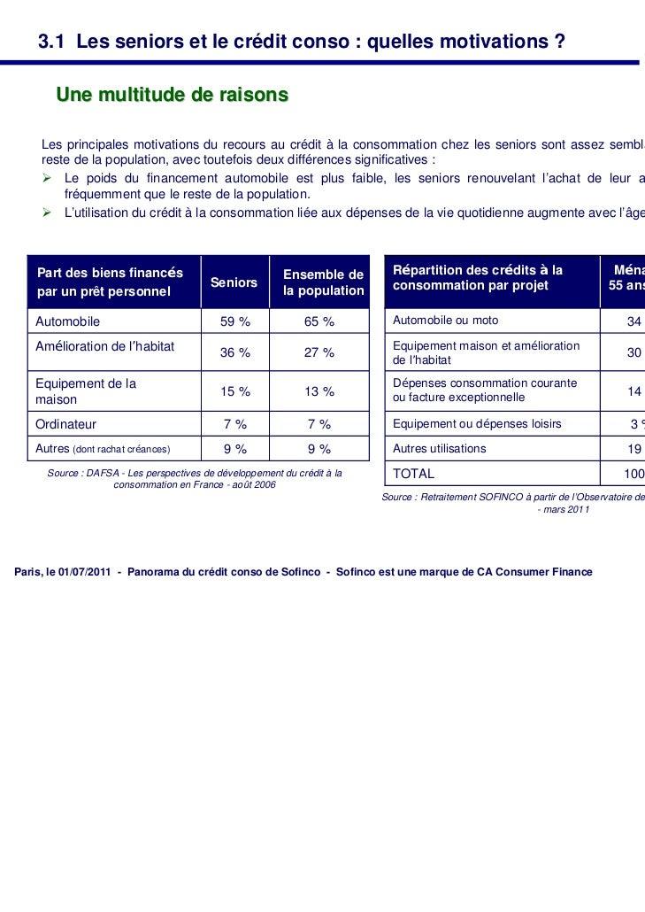 3.1 Les seniors et le crédit conso : quelles motivations ?       Une multitude de raisons     Les principales motivations ...