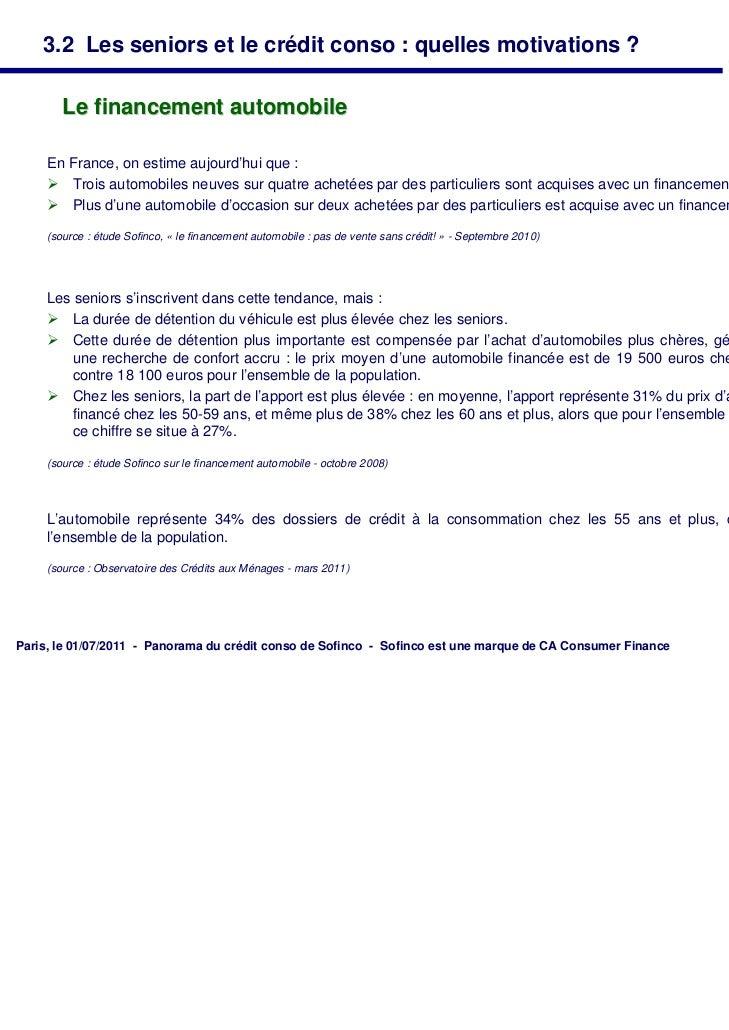 3.2 Les seniors et le crédit conso : quelles motivations ?        Le financement automobile     En France, on estime aujou...