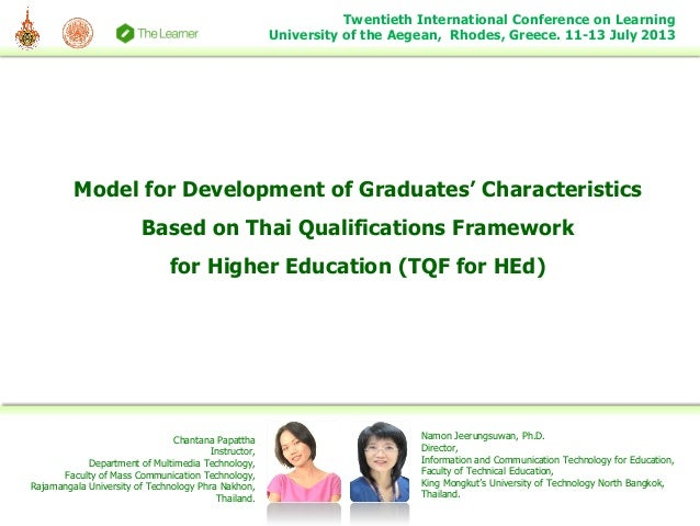 Model for Development of Graduates' Characteristics Based on Thai Qualifications Framework for Higher Education (TQF for H...