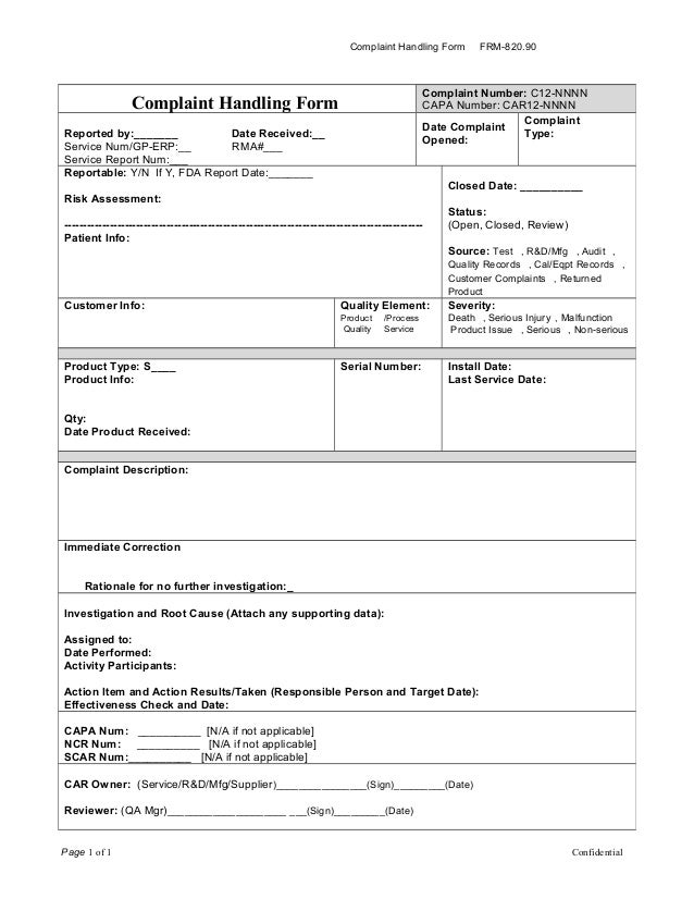 Complaint Handling Form FRM 820.90 Page 1 Of 1 Confidential Complaint  Handling Form Complaint Number