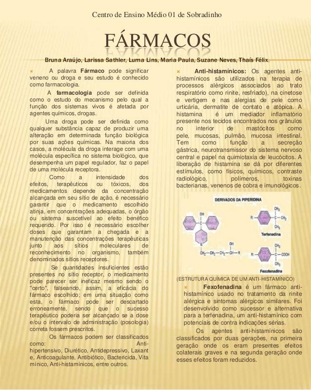 Centro de Ensino Médio 01 de Sobradinho                              FÁRMACOS      Bruna Araújo, Larissa Sathler, Luma Lin...