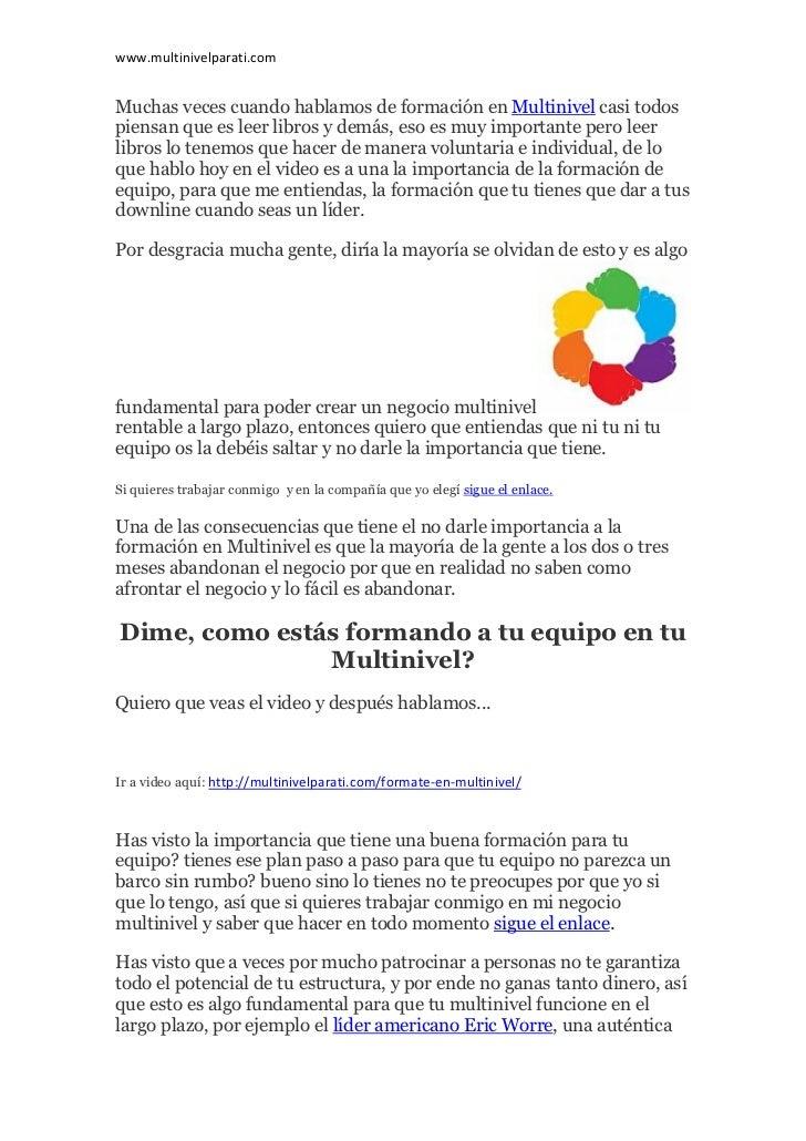 Multinivel para ti: Fórmate en Multinivel... y crece de manera imparable!! Slide 2