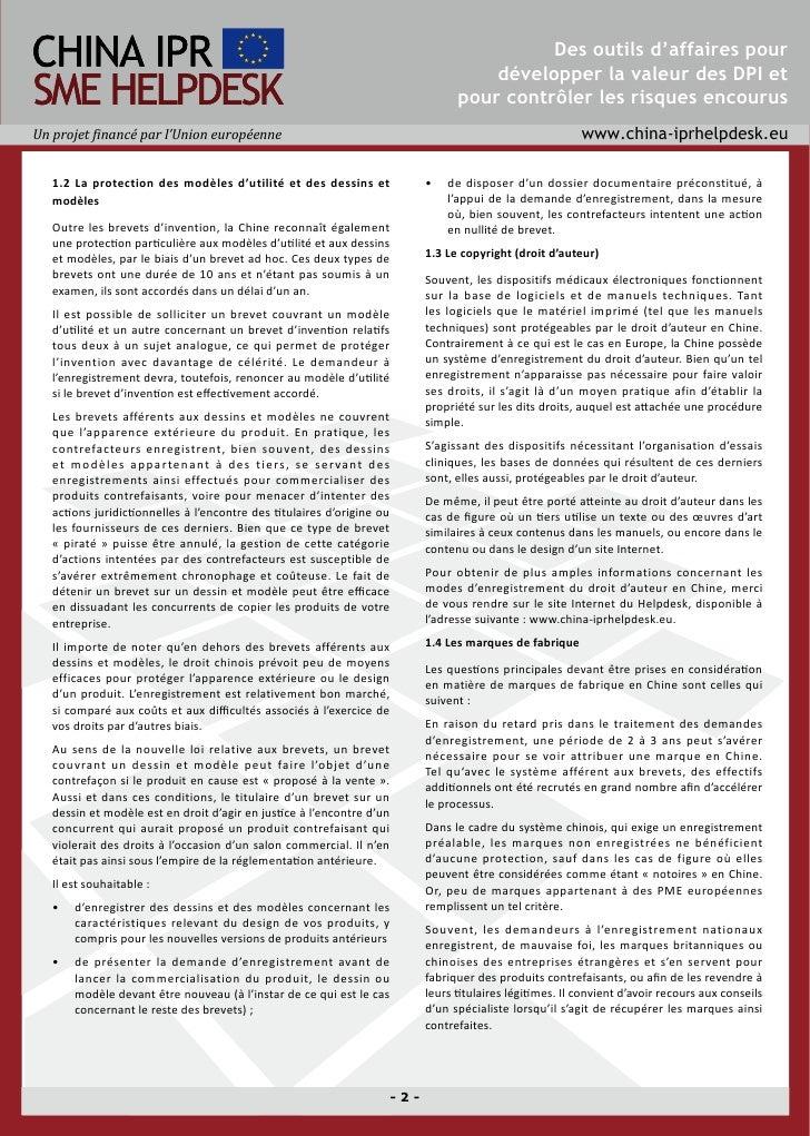 Directives à l'attention de la protection des droits de propriété industrielle et intellectuelle (DPI) de l'industrie des dispositifs médicaux en Chine Slide 2
