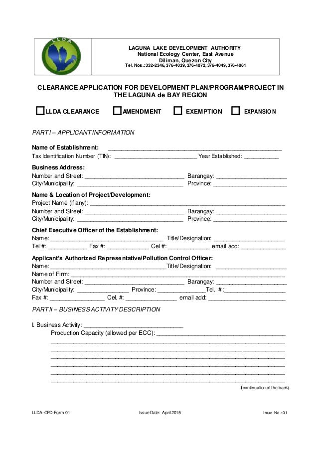 Llda Clearance Application Form Ms Word Format