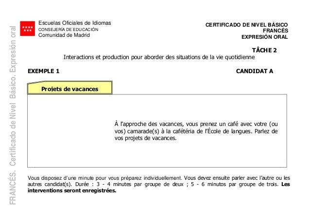 Escuelas Oficiales de Idiomas CONSEJERÍA DE EDUCACIÓN Comunidad de Madrid CERTIFICADO DE NIVEL BÁSICO FRANCÉS EXPRESIÓN OR...