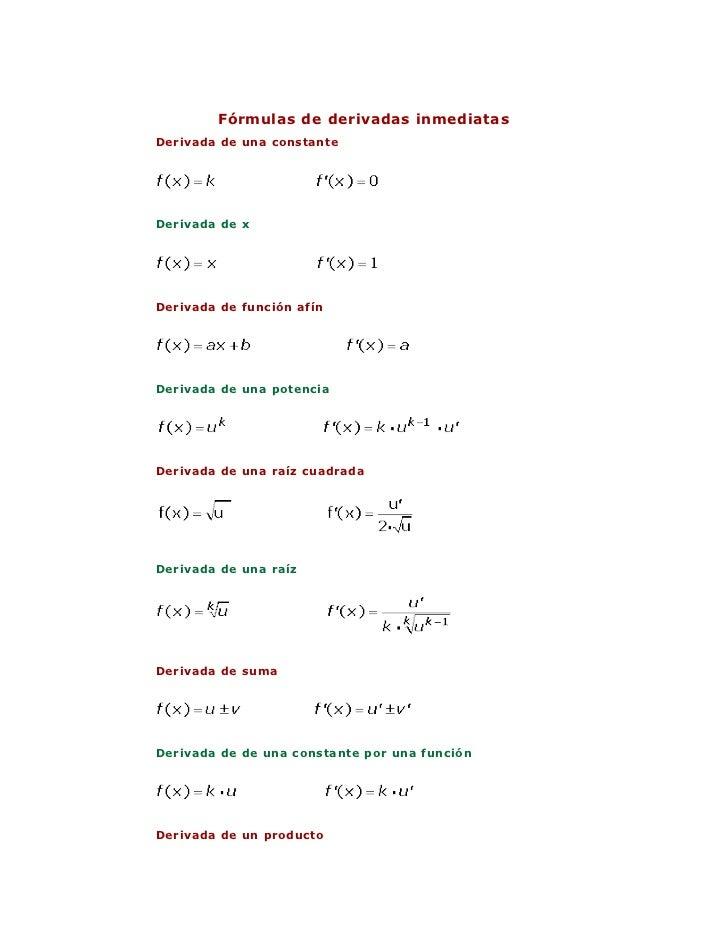 Fórmulas de derivadas inmediatasDerivada de una constanteDerivada de xDerivada de función afínDerivada de una potenciaDeri...