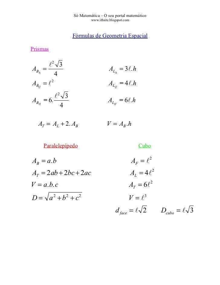 Só Matemática – O seu portal matemático                           www.itbsite.blogspot.com                  Fórmulas de Ge...