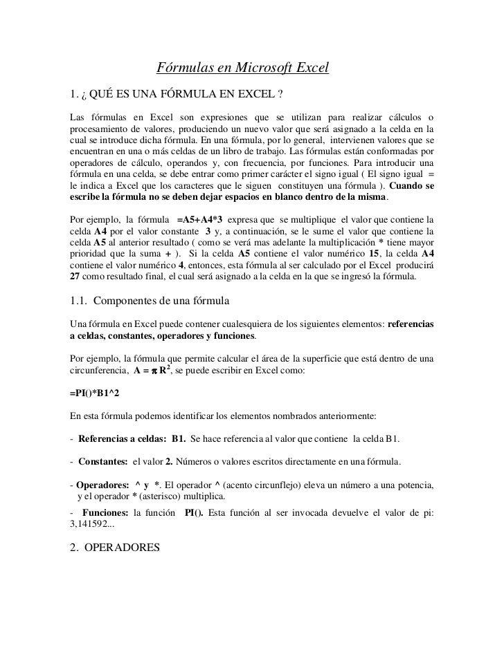 Fórmulas en Microsoft Excel <br />1. ¿ QUÉ ES UNA FÓRMULA EN EXCEL ?<br />Las fórmulas en Excel son expresiones que se uti...