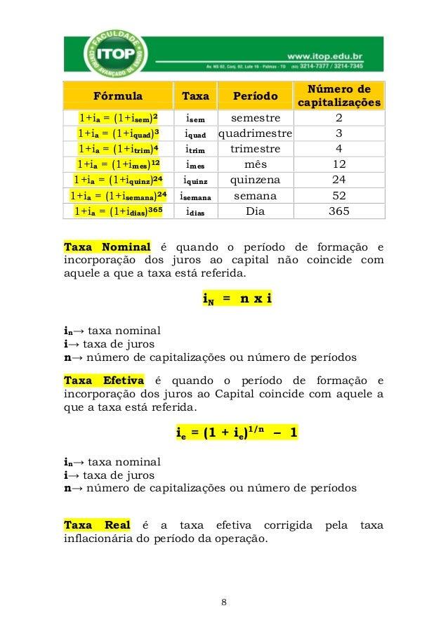 Fórmulas e nomenclaturas de matemática financeira