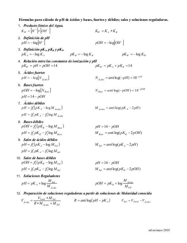 mlvm/maov/2005Fórmulas para cálculo de pH de ácidos y bases, fuertes y débiles; sales y soluciones reguladoras.1. Producto...
