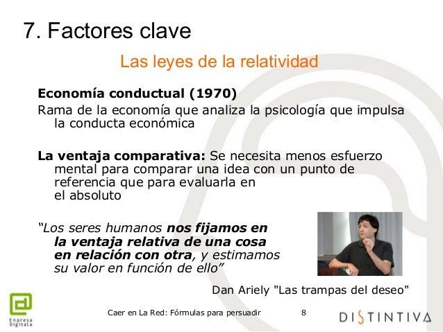7. Factores clave  Las leyes de la relatividad  Economía conductual (1970)  Rama de la economía que analiza la psicología ...
