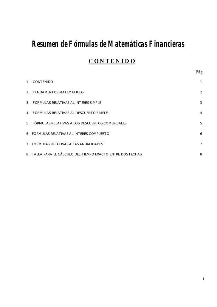 Resumen de Fórmulas de Matemáticas Financieras                                  CONTENIDO                                 ...