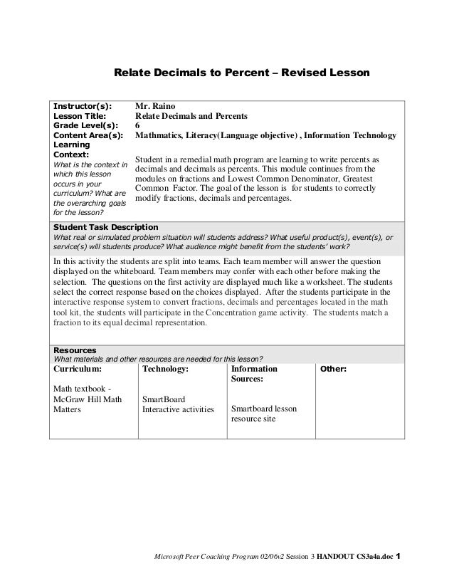 Relate Decimals to Percent – Revised Lesson Instructor(s): Lesson Title: Grade Level(s): Content Area(s): Learning Context...