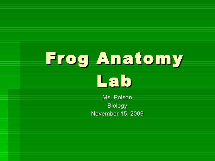 Frog Anatomy Lab Ms. Polson Biology November 15, 2009