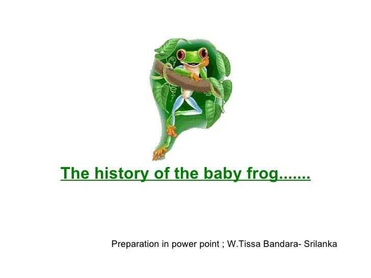 The history of the baby frog.......   Preparation in power point ; W.Tissa Bandara- Srilanka