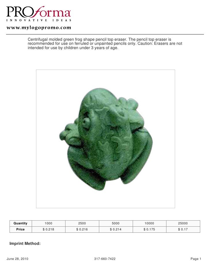 Centrifugal molded green frog shape pencil top eraser. The pencil top eraser is                recommended for use on ferr...
