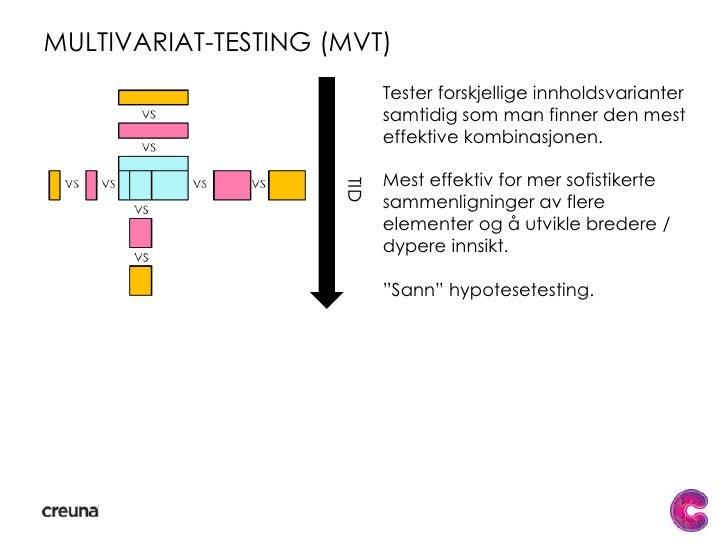 A/b testing<br />Best for raske, forenklede sammenligninger av layout eller enkeltelementer.<br />Splittesting er mest eff...
