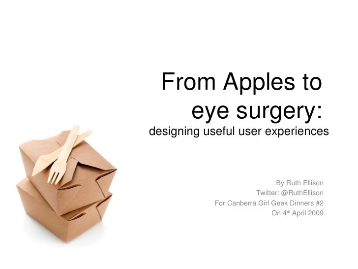 From Apples to  eye surgery:  designing useful user experiences By Ruth Ellison Twitter: @RuthEllison For Canberra Girl Ge...