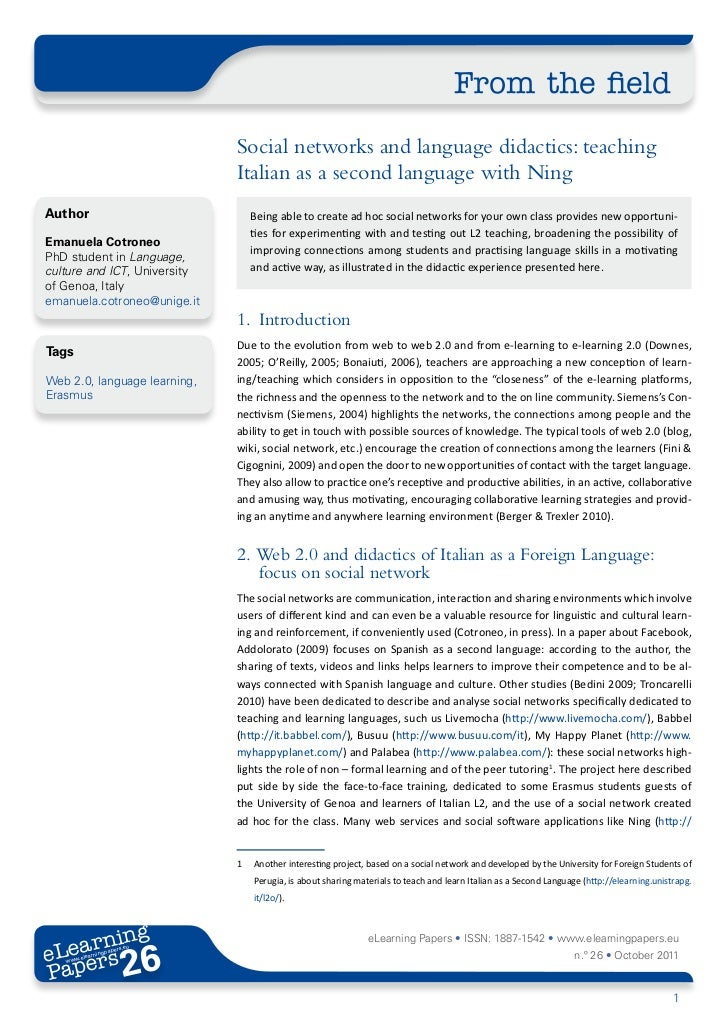 From the field                              Social networks and language didactics: teaching                              ...