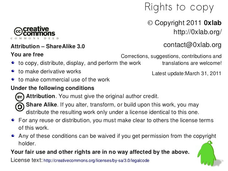 Rights to copy                                                                ©Copyright 2011 0xlab                      ...