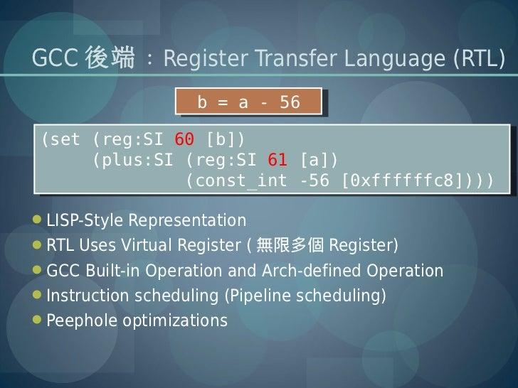 GCC 後端 : Register Transfer Language (RTL)                    b = a - 56                     b = a - 56(set (reg:SI 60 [b])...