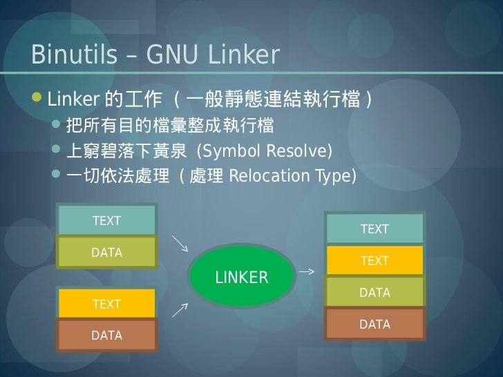 Binutils – GNU LinkerLinker 的工作 ( 一般靜態連結執行檔 ) 把所有目的檔彙整成執行檔 上窮碧落下黃泉 (Symbol Resolve) 一切依法處理 ( 處理 Relocation Type)     T...