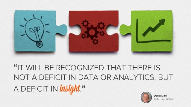"""""""IT WILL BE RECOGNIZED THAT THERE IS  NOT A DEFICIT IN DATA OR ANALYTICS, BUT  A DEFICIT IN insight.""""  Donal Daly  CEO, TA..."""