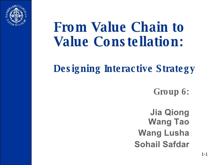From Value Chain to Value Constellation: Designing Interactive Strategy Group 6: Jia Qiong  Wang Tao Wang Lusha Sohail Saf...