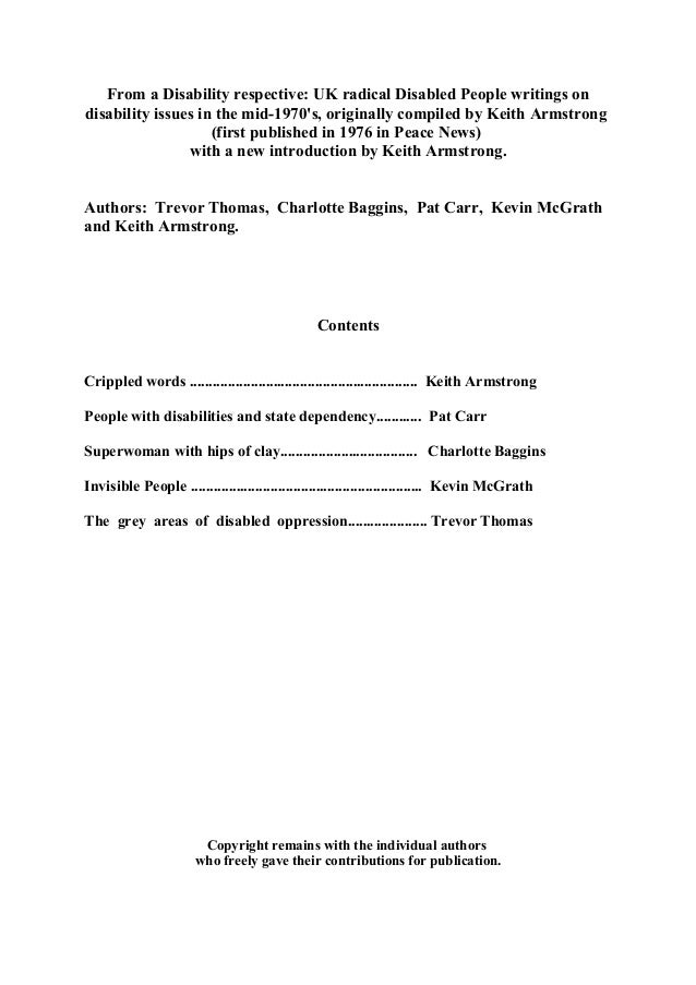 From a Disability respective: UK radical Disabled People writings on  disability issues in the mid-1970's, originally comp...