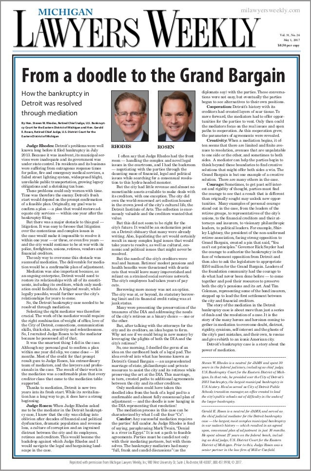 milawyersweekly.com Vol. 31, No. 26 May 1, 2017 $8.50 per copy MICHIGAN Reprinted with permission from Michigan LawyersWee...