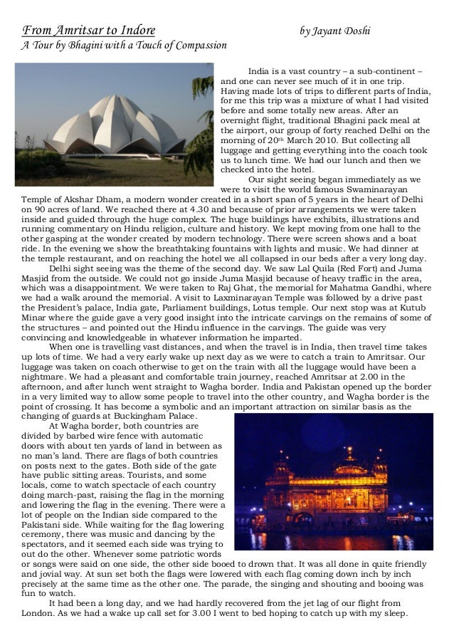 From Amritsar to Indore                                               by Jayant DoshiA Tour by Bhagini with a Touch of Com...