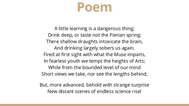 from an essay on criticism  2 poem a little learning is a dangerous thing