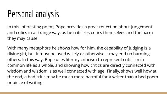 from an essay on criticism 7 personal analysis