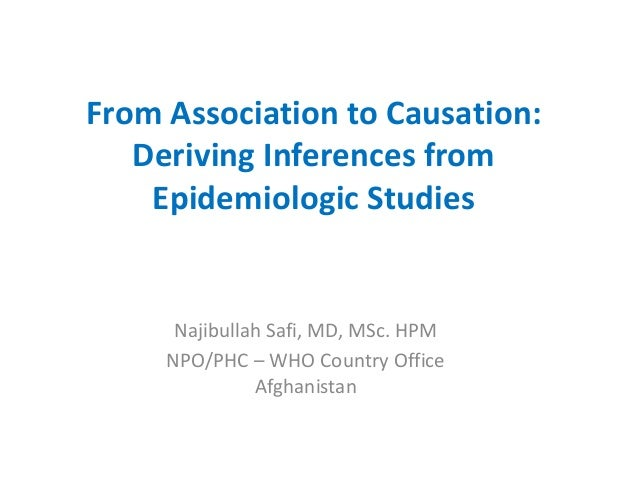 From Association to Causation:   Deriving Inferences from    Epidemiologic Studies      Najibullah Safi, MD, MSc. HPM     ...