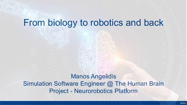 From biology to robotics and back Manos Angelidis Simulation Software Engineer @ The Human Brain Project - Neurorobotics P...