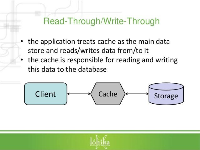 Read-Through/Write-Through  • the application treats cache as the main data  store and reads/writes data from/to it  • the...