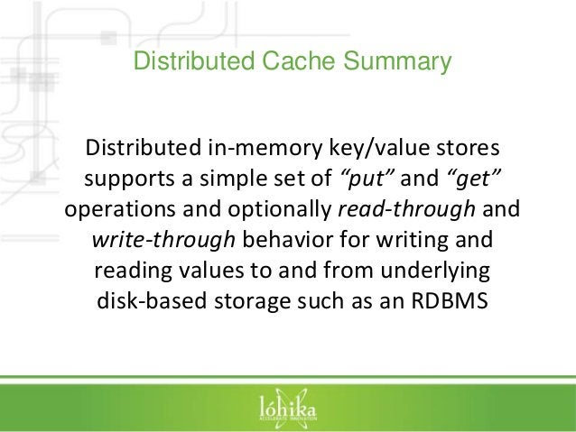 """Distributed Cache Summary  Distributed in-memory key/value stores  supports a simple set of """"put"""" and """"get""""  operations an..."""