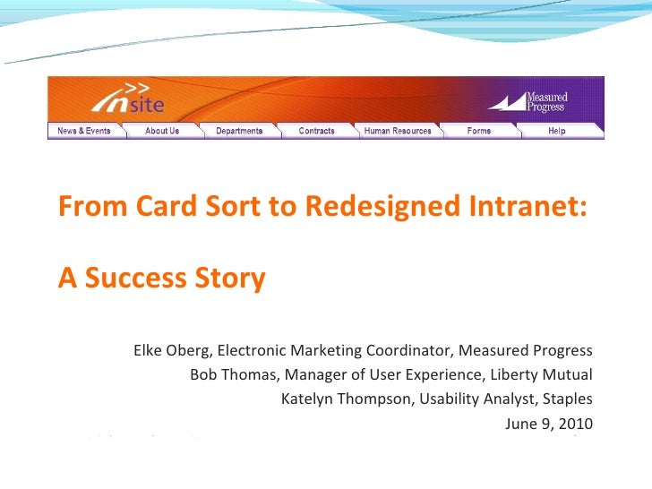From Card Sort to Redesigned Intranet:A Success Story     Elke Oberg, Electronic Marketing Coordinator, Measured Progress ...