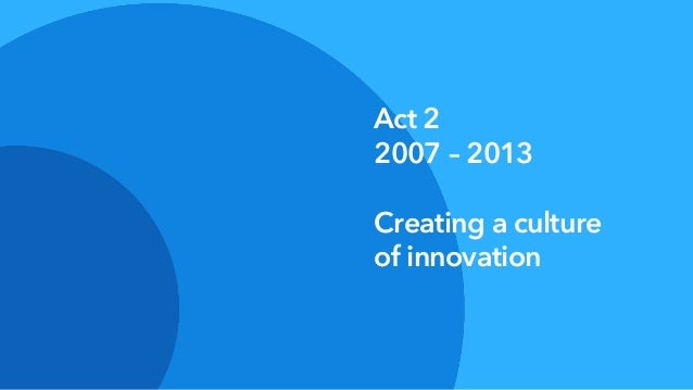 Act 2 2007 – 2013 Creating a culture of innovation