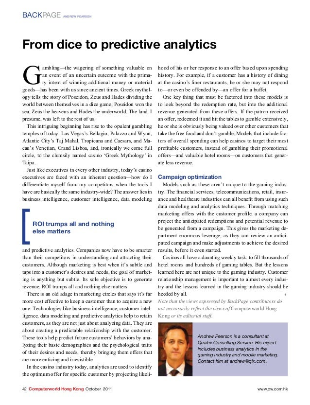BACKPAGE            andrew pearsonFrom dice to predictive analyticsG          ambling—the wagering of something valuable o...