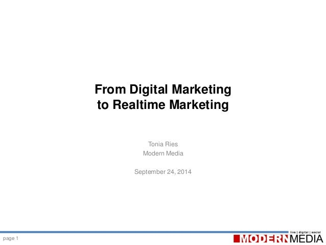 page 1 From Digital Marketing to Realtime Marketing Tonia Ries Modern Media September 24, 2014