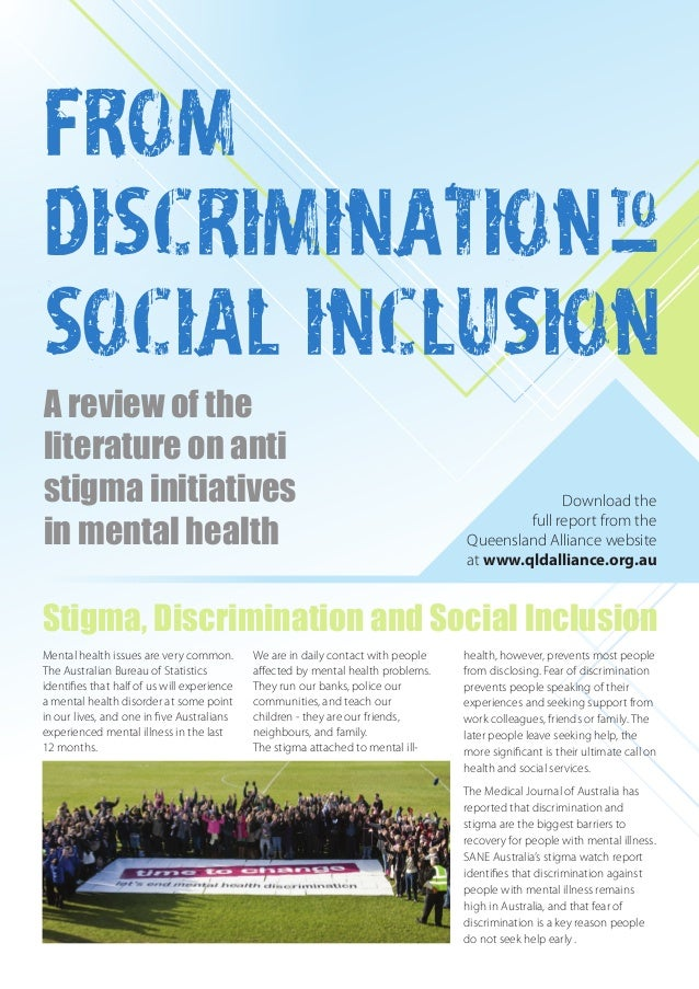 From Discrimination To Social Inclusion A Review Of The Literature O