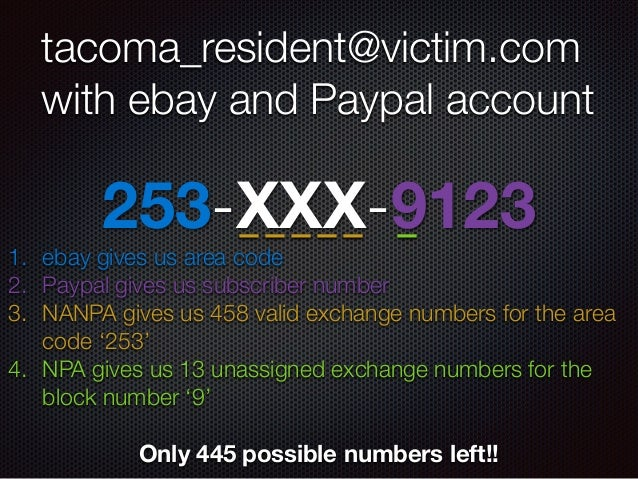 253-XXX-9123 tacoma_resident@victim.com with ebay and Paypal account 1. ebay gives us area code 2. Paypal gives us subscri...