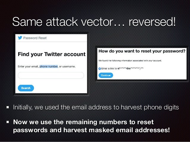 Same attack vector… reversed! Initially, we used the email address to harvest phone digits Now we use the remaining number...