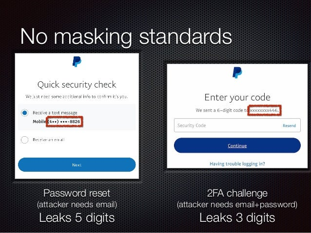 No masking standards Password reset (attacker needs email) Leaks 5 digits 2FA challenge (attacker needs email+password) Le...