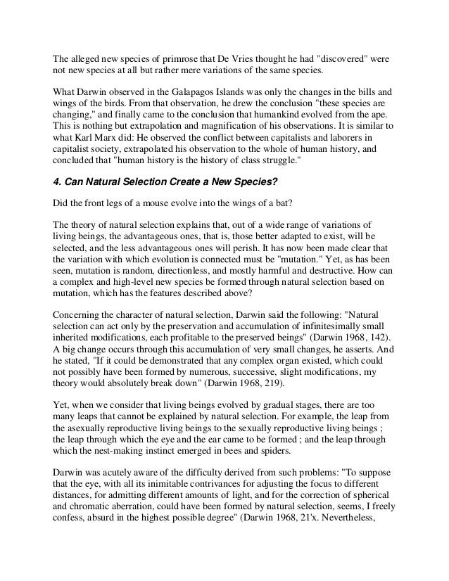 darwin s natural selection essay example Essay on evolution: natural selection and human behavior important contribution to human behavior ep posits that behavior is produced by specialized cognitive modules that evolved through natural selection in response to specific adaptive problems faced by our hunter-gatherer ancestors.